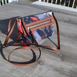Fossil multi colored crossbody leather canvas bag